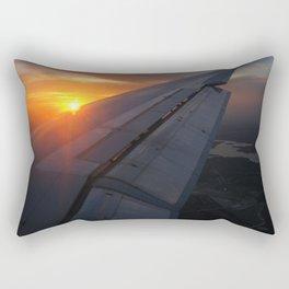Airliner Wing at Sunset Rectangular Pillow