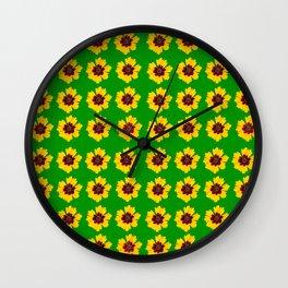 pattern yellow daisy on green background Wall Clock