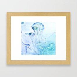 Jellyfish Double Exposure Framed Art Print