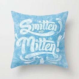 Smitten with the Mitten (Blue Version) Throw Pillow