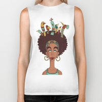 afro Biker Tanks featuring Afro Birds by Beatrice Roberti