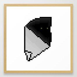 Pixel Eyes Hiding In The Tear. Framed Art Print