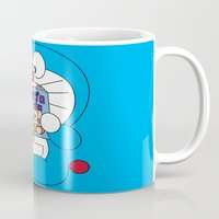 comic book Mugs featuring Doraemon Reading Comic Book by Timeless-Id