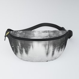 Forest Reflection Lake - Black and White  - Nature Photography Fanny Pack