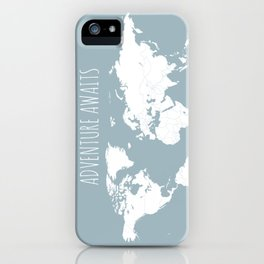 Adventure Awaits World Map in Slate Blue iPhone Case