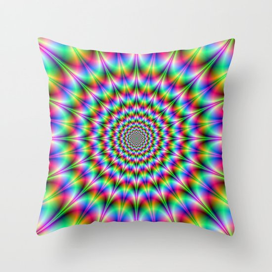 Psychedelic Explosion Throw Pillow
