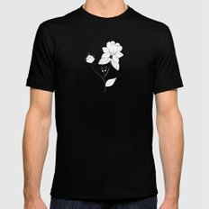 White Floral Mens Fitted Tee Black MEDIUM
