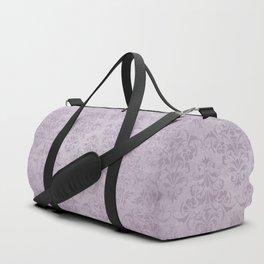 Vintage chic violet lilac floral damask pattern Duffle Bag
