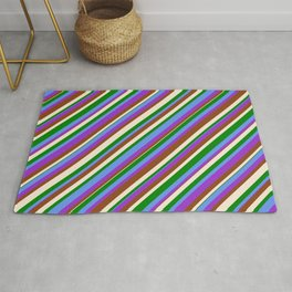 Colorful Cornflower Blue, Dark Orchid, Brown, Beige & Green Colored Lined/Striped Pattern Rug