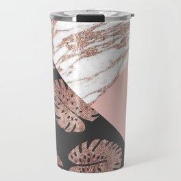 Blush Pink Rose Gold Marble Swiss Cheese Leaves Travel Mug