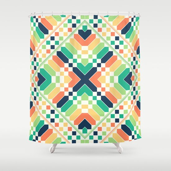 Retrographic Shower Curtain
