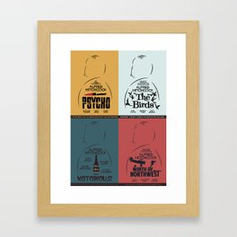 Four Hitchcock movie poster in one (Psycho, The Birds, North by Northwest, Notorious), cinema, cool Framed Art Print