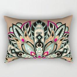 Tribal Geometric brown and green Mandala Rectangular Pillow