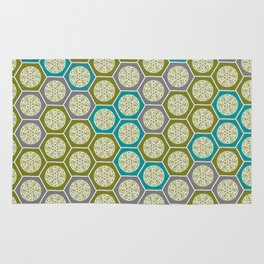 Hexagonal Dreams - Green, Grey, Turquoise Rug
