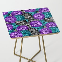 Dahlia Multicolored Floral Abstract Pattern Side Table