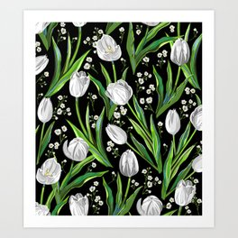 White Tulips + Babys Breath   Black Art Print