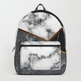 Elegant Silver Marble with Bronze Lining Backpack
