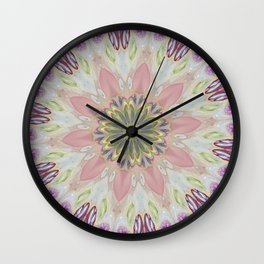 Fluid Nature - Floral Mandala In Pink Wall Clock