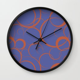 Dark Orange and Blue Funky Ring Pattern V43 Accent Shades To Pantone 2021 Colors of the Year Wall Clock