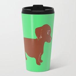 Brown Dachshund Printmaking Art Travel Mug