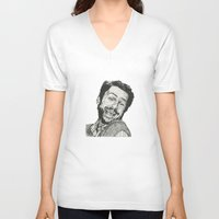 charlie V-neck T-shirts featuring Charlie by Molly Morren