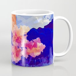 Vibrant Watercolor Mountains, Sunny, Flower Nature Abstract Art Mid-century Retro and Mindful vibes Coffee Mug