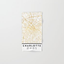 CHARLOTTE NORTH CAROLINA CITY STREET MAP ART Hand & Bath Towel