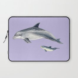 Bottlenose dolphin purple background Laptop Sleeve
