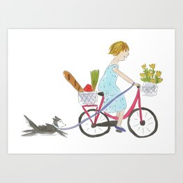 Girl with Bicycle Art Print