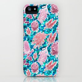 Pink and blue glittery australian native floral print iPhone Case