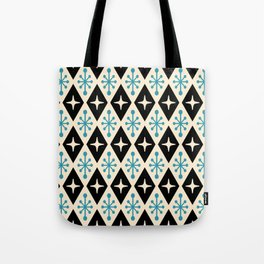 Mid Century Modern Atomic Triangle Pattern 922 Black and Blue Tote Bag