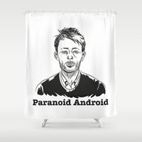 android Shower Curtains featuring Paranoid Android by skidsam