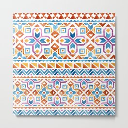 Geometric colorful Watercolor Pattern Metal Print