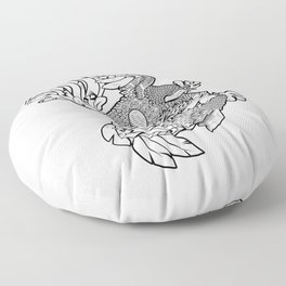 Rooster BW Floor Pillow