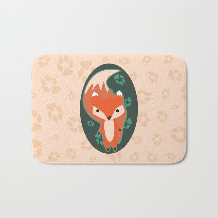 Fox with Paw Prints Bath Mat