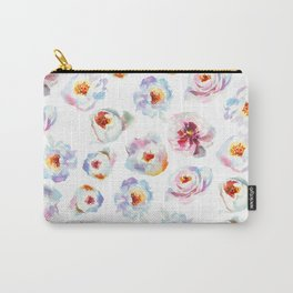 Modern hand painted pink blue lilac watercolor peonies Carry-All Pouch
