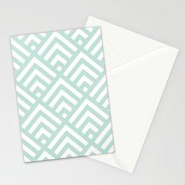 Turquoise Blue geometric art deco diamond pattern Stationery Cards