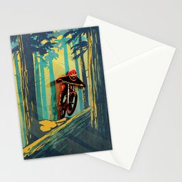 RETRO MOUNTAIN BIKE POSTER LOG JUMPER Stationery Cards
