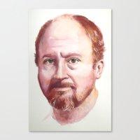louis ck Canvas Prints featuring Portrait of Louis CK by Megan Lynn