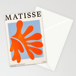 Red Coral Leaf: Matisse Paper Cutouts II Stationery Cards