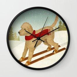 Doodle Schnoodle Whoodle Labradoodle Goldendoodle Ski Dog Wall Clock