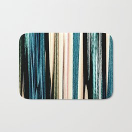 blue turquoise black grey beige pink abstract striped pattern Bath Mat