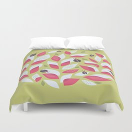 Pretty Plant With White Pink Leaves And Ladybugs Duvet Cover
