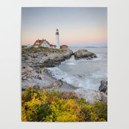 PORTLAND HEAD LIGHTHOUSE AUTUMN - MAINE COAST - NEW ENGLAND - LANDSCAPE NATURE PHOTOGRAPHY Poster