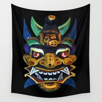 chinese Wall Tapestries featuring Chinese Mask by Ron Trickett