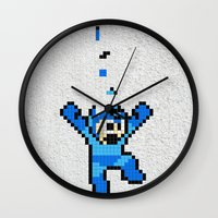 megaman Wall Clocks featuring Megaman Tetris by D-fens