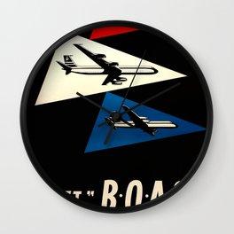 Jet BOAC volate dalla svizerra nel mondo Travel Poster Wall Clock