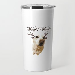 Deer dog woof Christmas childrens brown white decor quotes society6 comic Travel Mug