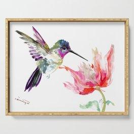 Little Hummingbird and Pink Flower, Bird art, minimalist bird painting, soft pink olive green design Serving Tray