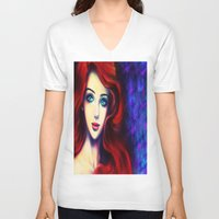 ariel V-neck T-shirts featuring Ariel by Amanda Lee